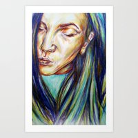 leah flores Art Prints featuring Leah by Chloe Gibb