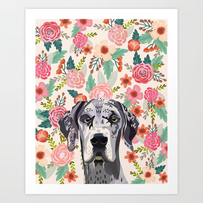 Great Dane florals pet portrait art print and dog gifts Art Print