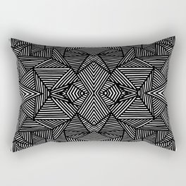 black and white abstract lines triangles pattern Rectangular Pillow