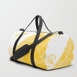 Yellow City Map of Dubai, UAE Duffle Bag