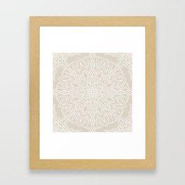 White Lace Mandala on Antique Ivory Linen Background Framed Art Print