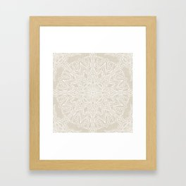 White Lace Mandala on Antique Ivory Linen Background Framed Art Print
