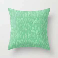 Mint Green Cactus Pattern Throw Pillow