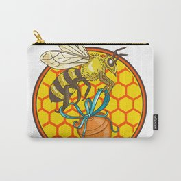 Bumblebee Carrying Honey Pot Beehive Circle Carry-All Pouch