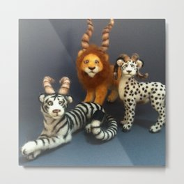 Antlered Cats Metal Print