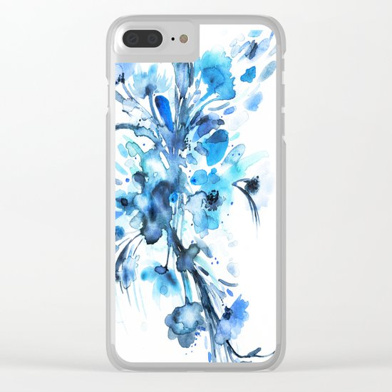 Blue Watercolor Floral 2 Clear iPhone Case