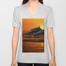 Dolphins at sunset Unisex V-Neck
