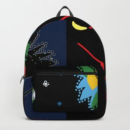 Patchwork of eight images in blue, purple and black colors Backpack