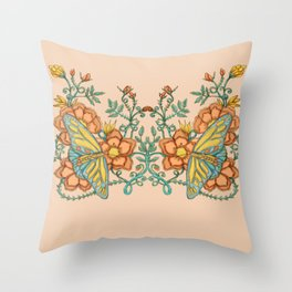 Butterflies over Garden of Thorns and Roses Throw Pillow