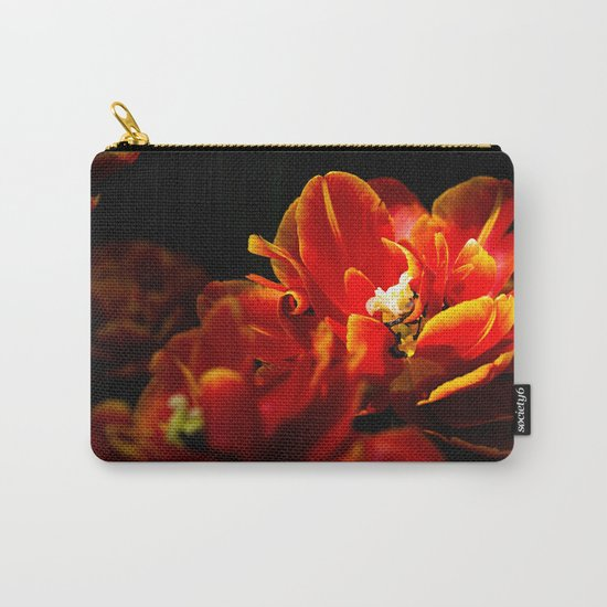 Red tulips dark background Carry-All Pouch