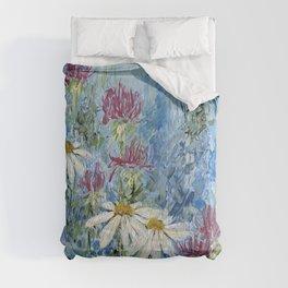 Wildflower Blues Garden Flower Acrylic Art Comforters