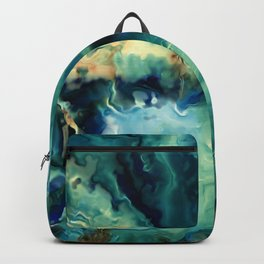 Abstract Blue Oil Painting Fractal Backpack