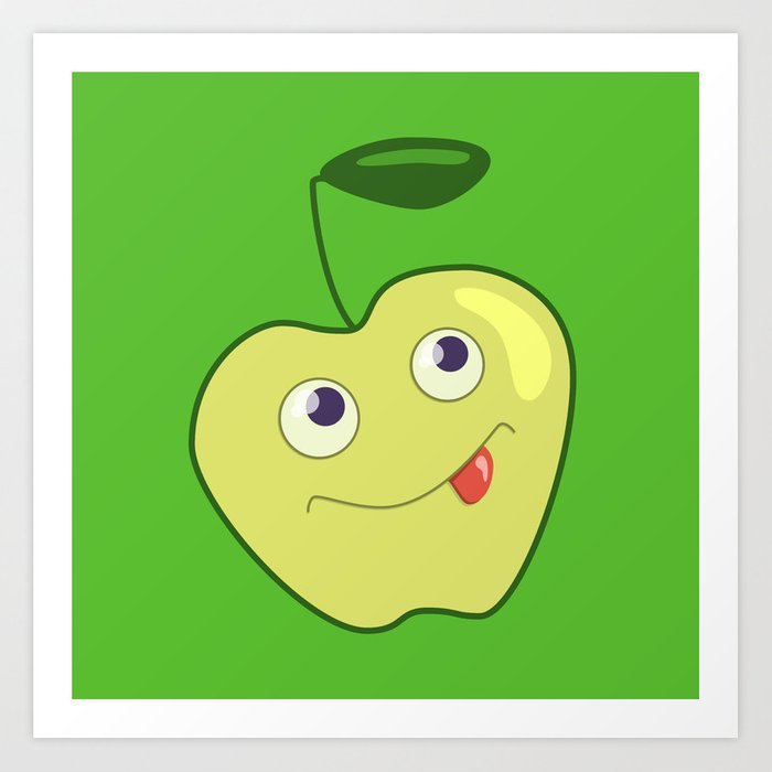 Cute Smiling Green Cartoon Apple Art Print