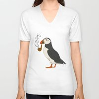 door V-neck T-shirts featuring Puffin' by Megs stuff
