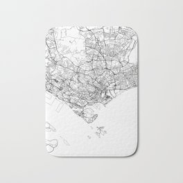Singapore White Map Bath Mat