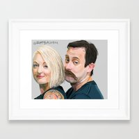 roosterteeth Framed Art Prints featuring Geoff and Griffon Ramsey by CharlotteJR
