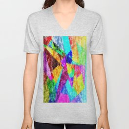 Formes géométriques multicolore Unisex V-Neck