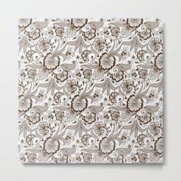 Mehndi or Henna Flowers and Leaves Metal Print