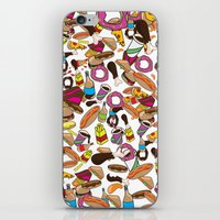 junk food iPhone & iPod Skins featuring Cartoon Junk food pattern. by Nick's Emporium Gallery