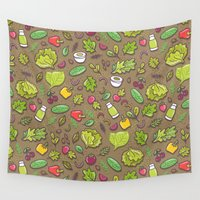 vegetables Wall Tapestries featuring Vegetables and fruits by Anna Alekseeva kostolom3000