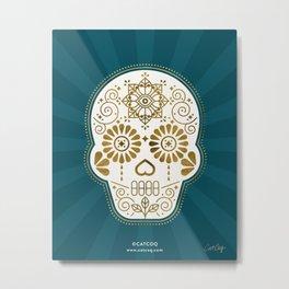 Día de Muertos Calavera • Mexican Sugar Skull – Teal & Bronze Palette Metal Print