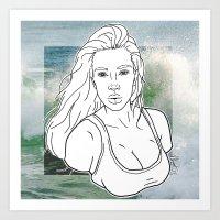 kardashian Art Prints featuring KIM KARDASHIAN by vllancourt