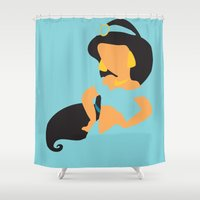aladdin Shower Curtains featuring Jasmine - Aladdin by Adrian Mentus