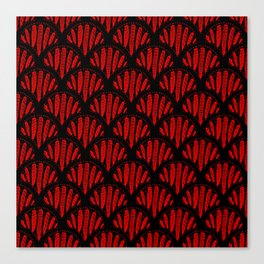 Beautiful Red Black Scalloped Pattern Canvas Print