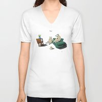 sheep V-neck T-shirts featuring Sheep by rob art | illustration