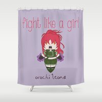 snk Shower Curtains featuring Fight Like a Girl - The King of Fighters' Orochi Leona by ~ isa ~