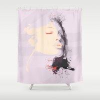 angelina jolie Shower Curtains featuring Jolie Portrait  by veronica ∨∧