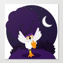 Happy white owl Canvas Print
