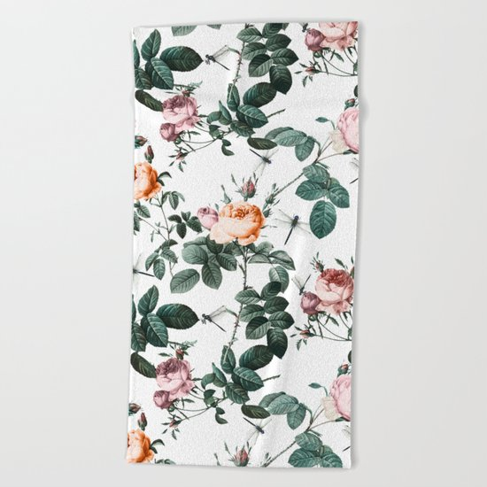 Floral and Winged Darter Beach Towel