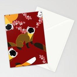 Sakura Japanese marten red Stationery Cards