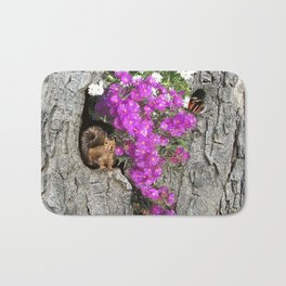 Flowering Vygies and a Squirrel in a tree Bath Mat