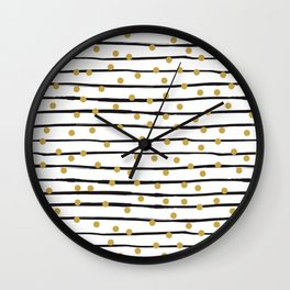 Modern black and gold hand drawn stripes dots pattern Wall Clock