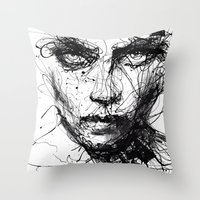 agnes Throw Pillows featuring In trouble, she will. by agnes-cecile