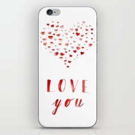 LOVE you! Watercolor Hearts. Valentine's Day Card iPhone Skin