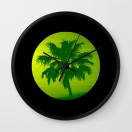Palm Tree, Green to Yellow Wall Clock