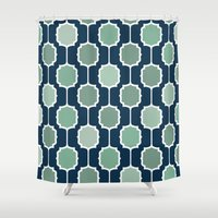 navy Shower Curtains featuring navy by Ann Gardner
