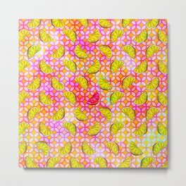 Rainbow Pastel Lemon & Lime Watercolor, Pink & Yellow Green Flowers - a Summer Fruit Party Metal Print