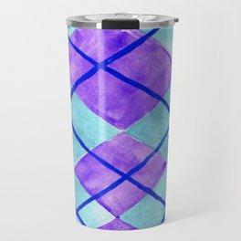 Hand Painted Classic Argyle Pattern Purple Aqua Travel Mug