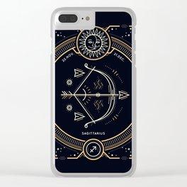 Sagittarius Zociac Golden White on Black Background Clear iPhone Case