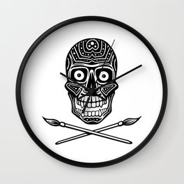 Skull With Paint Brushes Wall Clock