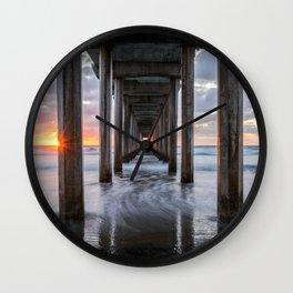 SCRIPPS PIER SUNSET LA JOLLA CALIFORNIA TRANQUIL OCEAN PHOTOGRAPHY Wall Clock