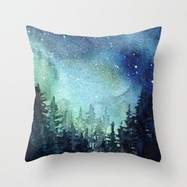 Galaxy Watercolor Aurora Borealis Painting Throw Pillow