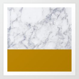 Marble Mustard yellow Color block Art Print