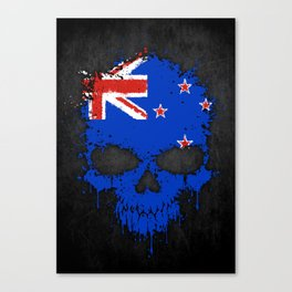 Flag of New Zealand on a Chaotic Splatter Skull Canvas Print