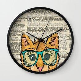 Orange Kitty Cat Wall Clock