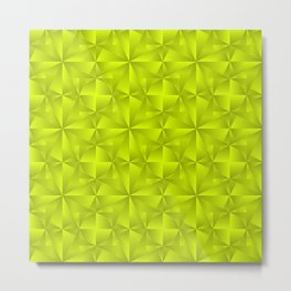 A chaotic grid of darkened rhombuses with intersecting green northern lines and stars. Metal Print